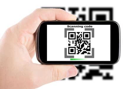 Smartphone in hand scanning code Stock Photo - 17149879