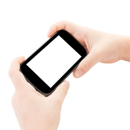 Child hands holding smart phone with clipping path