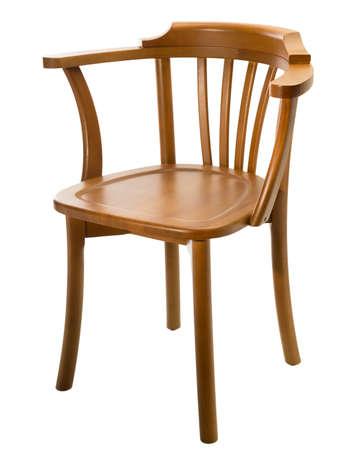 sandalye: Ahşap sandalye, beyaz zemin üzerine izole Stok Fotoğraf