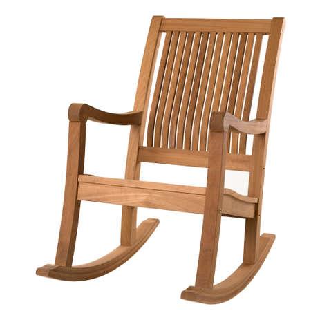 silla de madera: mecedora en blanco Foto de archivo