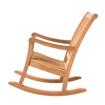 muebles de madera: mecedora en blanco Foto de archivo