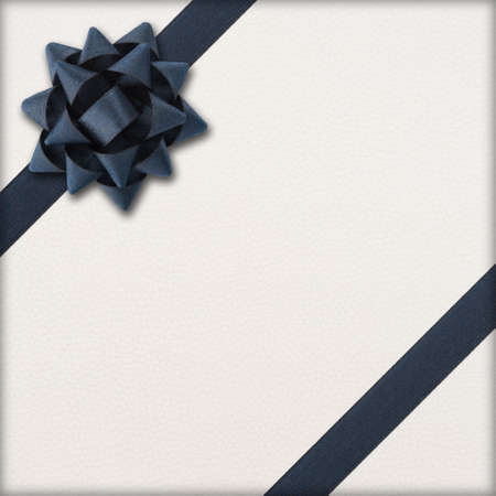 Dark bow and ribbon over wrapped gift photo