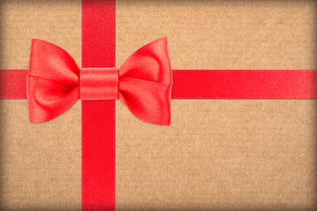 wrapped gift: red bow and ribbon over wrapped gift