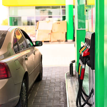 petrol station: Car refueling on a petrol station . Stock Photo