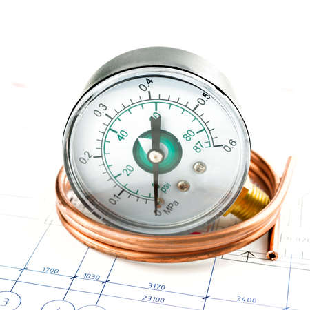 thermostat: development of pressure measure system. Manometer and pipe Stock Photo