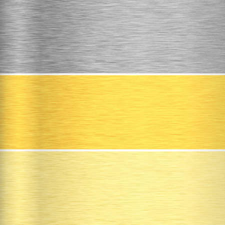 Backgrounds of silver, gold and bronze metal textures