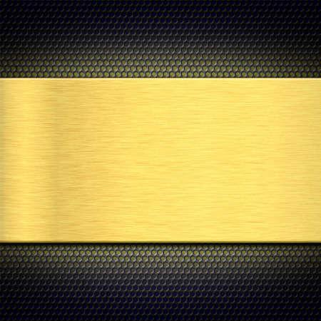Piastra di metallo in oro su una griglia