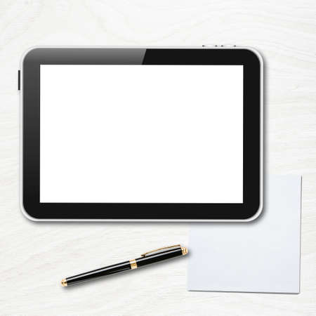 Tablet pc with blank screen and pen over table  Imagens