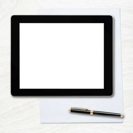 blank tablet: Tablet pc with blank screen and pen over table  Stock Photo