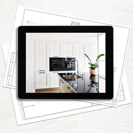 digital tablet computer and interior image on screen Stock Photo - 21617697