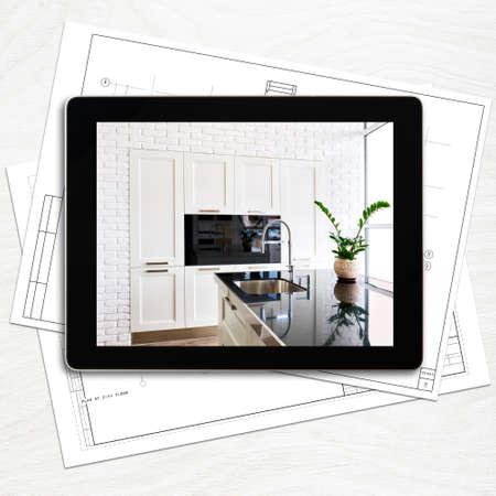 digitale tablet-computer en het interieur op het scherm