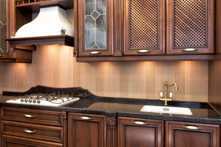 modern kitchen room in classical style .