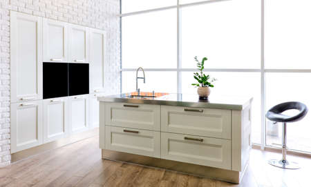 white modern kitchen room in classical style Standard-Bild