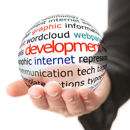 business software: Transparent ball with inscription development in a hand