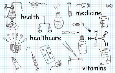 Illustration of medical vector doodles set on linen paper Vector
