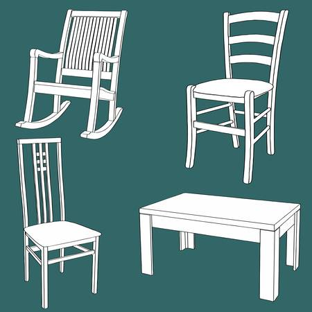 antique chair: Set of furniture on the chalk board