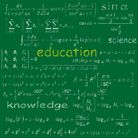 Education doodle texture on green chalk board Vector