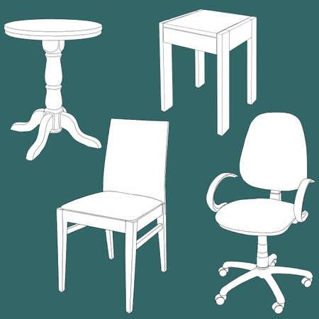 Set of furniture on the chalk board. Vector illustration