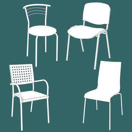 Set of furniture on the chalk board. Vector illustration Vector