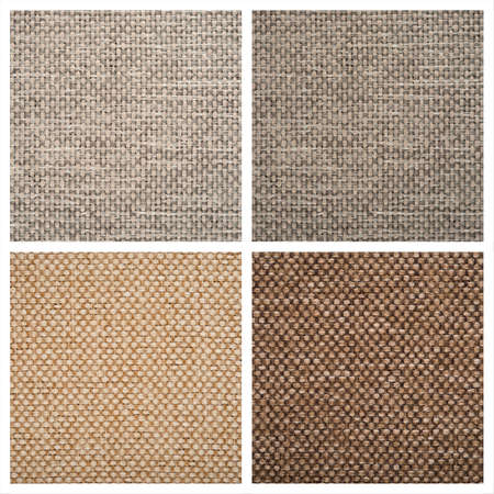 fibra: Set from four textile backgrounds on white. Stock Photo