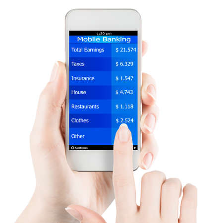 Womans hand holding smartphone with mobile banking information on a screen photo