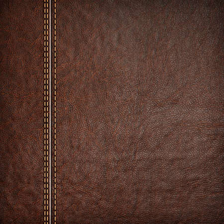 red leather texture: stitched leather background red and brown colors Stock Photo