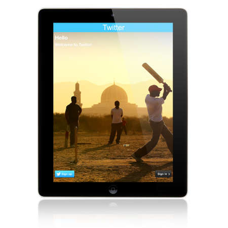 microblogging: SIMFEROPOL, RUSSIA - JULY 05, 2014  Twitter Login page on new Apple iPad Air screen  Twitter is a social media online service for microblogging and networking communication  Editorial