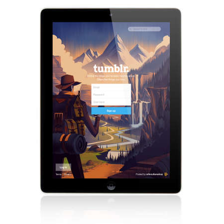 SIMFEROPOL, RUSSIA - JULY 06, 2014: Tumblr Login page on new Apple iPad Air screen. Tumblr is a microblogging platform and social networking website. Founded in February 2007. Owner Yahoo! Inc.