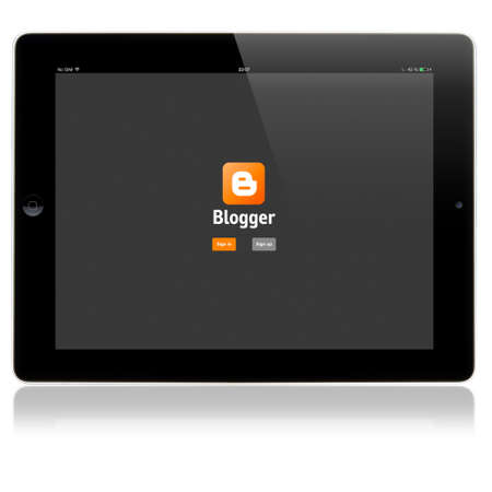 SIMFEROPOL, RUSSIA - JULY 06, 2014: Blogger Login page on Apple iPad screen. Blogger is a blog-publishing service, launched on August 23, 1999. Owner: Google Inc.