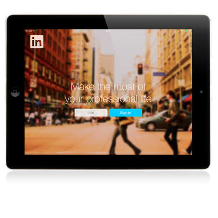 SIMFEROPOL, RUSSIA - JULY 06, 2014: LinkedIn Login page on Apple iPad screen. LinkedIn is a business-oriented social networking service, launched on May 5, 2003 Sajtókép