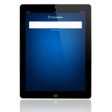 SIMFEROPOL, RUSSIA - JULY 06, 2014: LiveJournal Login page on Apple iPad screen. LiveJournal is a social networking service where Internet users can keep a blog, journal or diary. Launched on 1999.