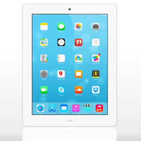 SIMFEROPOL, RUSSIA - JULY 10, 2014  Apple iPad displaying iOS 7 1 2 homescreen  iOS 7 1 2 operating system designed by Apple Inc  Official release of 30 June 2014