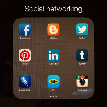 livejournal: SIMFEROPOL, RUSSIA - JULY 17, 2014: Social networking applications on an Apple iPad Air retina display, which is designed by Apple Inc. Apple iPad Air official released of November 1, 2013.