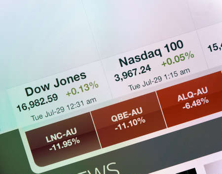 indexes: Simferopol, Russia - July 29, 2014  Photo of screen Apple iPad device showing the Dow Jones and Nasdaq indexes Editorial