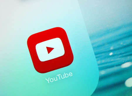 SIMFEROPOL, RUSSIA - JULY 29, 2014  Youtube icon on an Apple iPad display, which is designed by Apple Inc  YouTube service that provides a video hosting