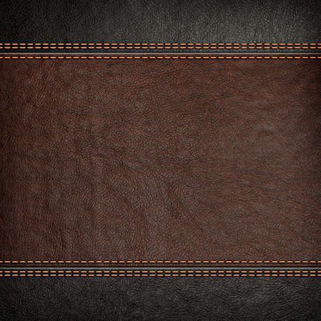 Stitched leather background, brown and black colors Standard-Bild