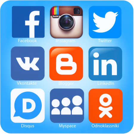 SIMFEROPOL, RUSSIA - SEPTEMBER 06, 2014: Icons of most popular social networking applications printed on paper. Include Facebook, Instagram, Twitter, Vkontakte, Blogger,LinkedIn,Disqus, Myspace and other.