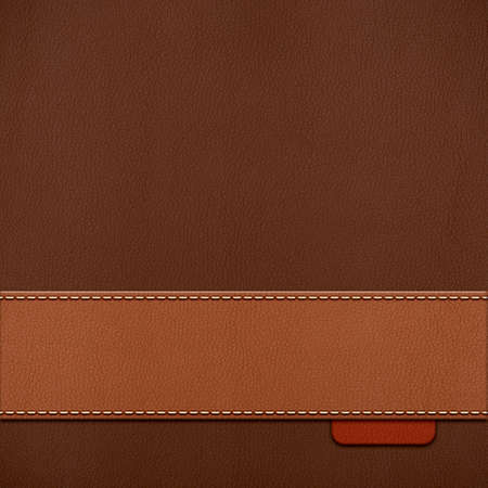 Vintage stitched leather background in brown colors Stock Photo