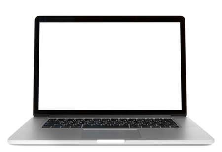Computadora portátil moderna aislado sobre fondo blanco. Vista frontal Foto de archivo