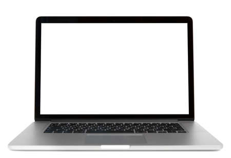 Modern laptop isolated on white background. Front view photo