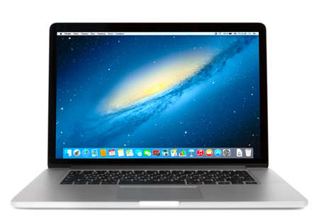 SIMFEROPOL, RUSSIA - NOVEMBER 01, 2014:  Front view of Macbook Pro.  MacBook is a brand of notebook computers manufactured by Apple Inc.
