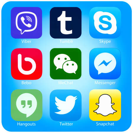tumblr: SIMFEROPOL, RUSSIA - NOVEMBER 04, 2014: Icons of most popular social networking applications printed on paper. Include Twitter, Skype, Viber, Tumblr and other. Editorial