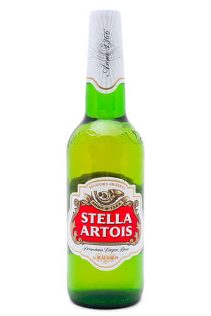 pilsner beer: SIMFEROPOL, RUSSIA - NOVEMBER 13, 2014: Bottle of Stella Artois Beer on white background. Stella Artois informally called Stella, is a pilsner beer. It has been brewed in Leuven, Belgium Editorial