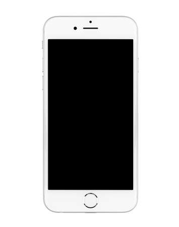 SIMFEROPOL, RUSSIA - NOVEMBER 20, 2014: Apple iPhone 6 on white background turned off with black display. The iPhone 6 and iPhone 6 Plus are smartphones running iOS developed by Apple Inc.