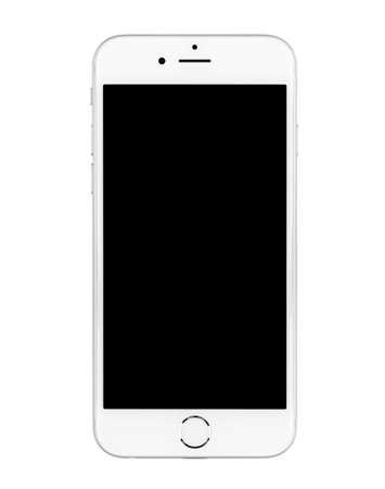 blancos: SIMFEROPOL, Rusia - 20 de noviembre 2014: Apple iPhone 6 en fondo blanco apagado con pantalla de color negro. El iPhone 6 y iPhone 6 Plus son smartphones con iOS desarrollado por Apple Inc. Editorial