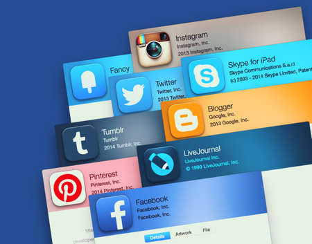 twitter: SIMFEROPOL, RUSSIA - NOVEMBER 26, 2014: Popular social networking applications on an Apple macbook display. Include: facebook, instagram, twitter, skype and other
