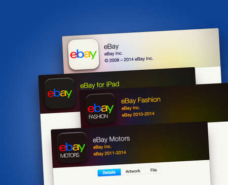 e 27: SIMFEROPOL, RUSSIA - NOVEMBER 27, 2014:  Ebay applications on an Apple macbook display. Ebay  is an American multinational corporation and e-commerce company Editorial