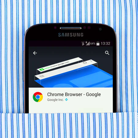 google chrome: Simferopol, Russia - April 18, 2015: Photo of Chrome browser on the Samsung galaxy display.  Chrome is a freeware web browser developed by Google.