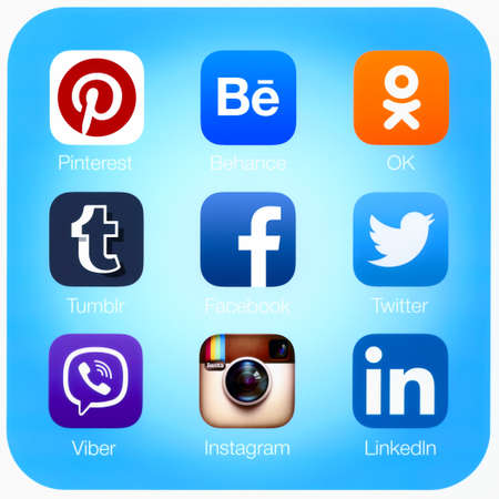 instagram: Simferopol, Russia - April 21, 2015: Icons of most popular social networking applications printed on paper.