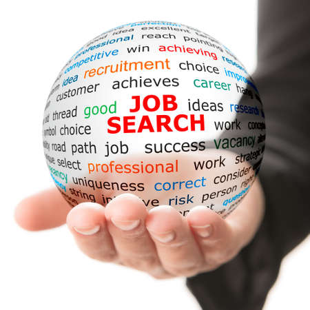 job hunt: Concept of job searching. Transparent ball with inscription job search in a hand Stock Photo